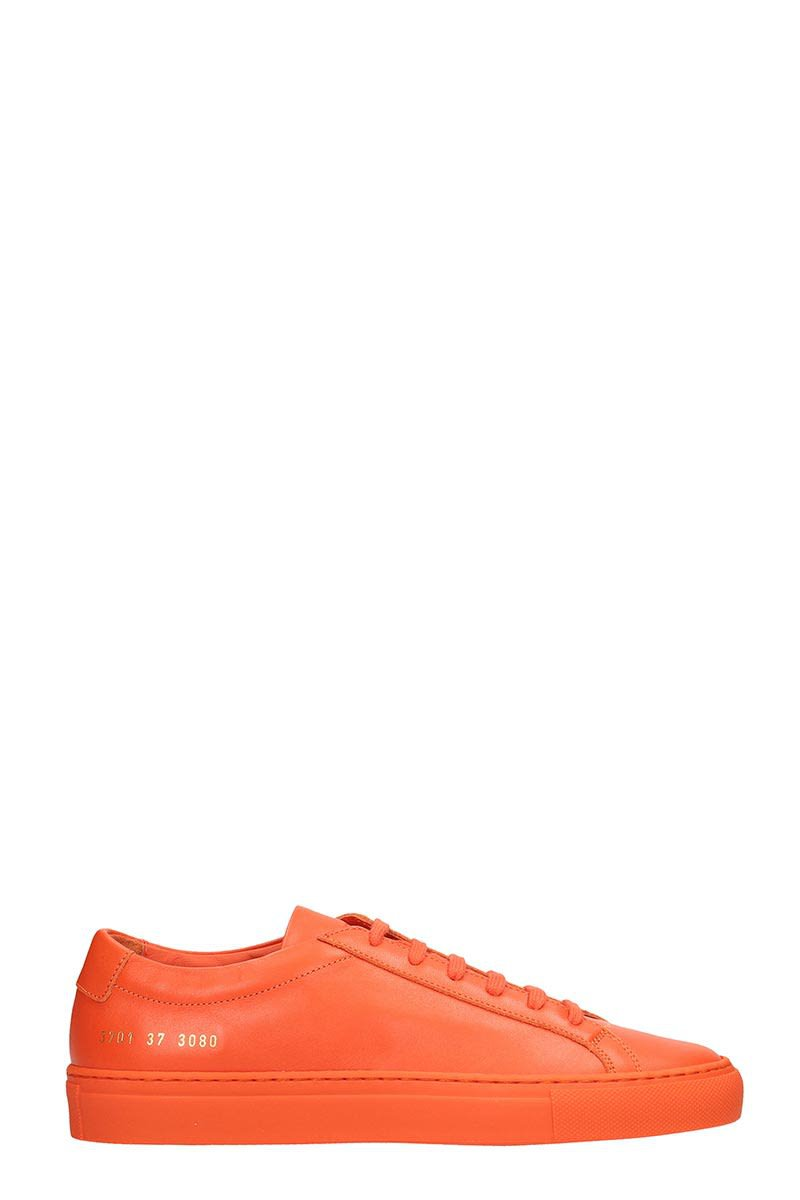 Common Projects Orange Leather Achilles Low Sneakers