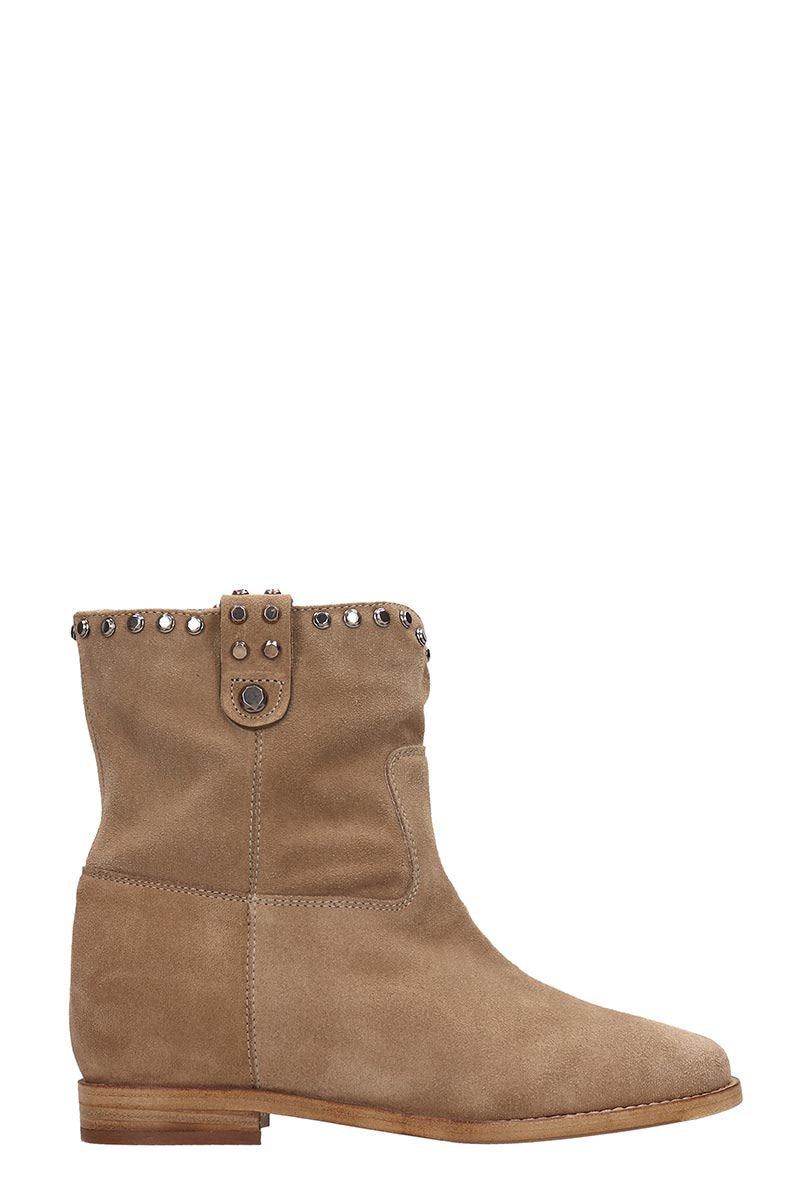 Julie Dee Beige Suede Ankle Boots