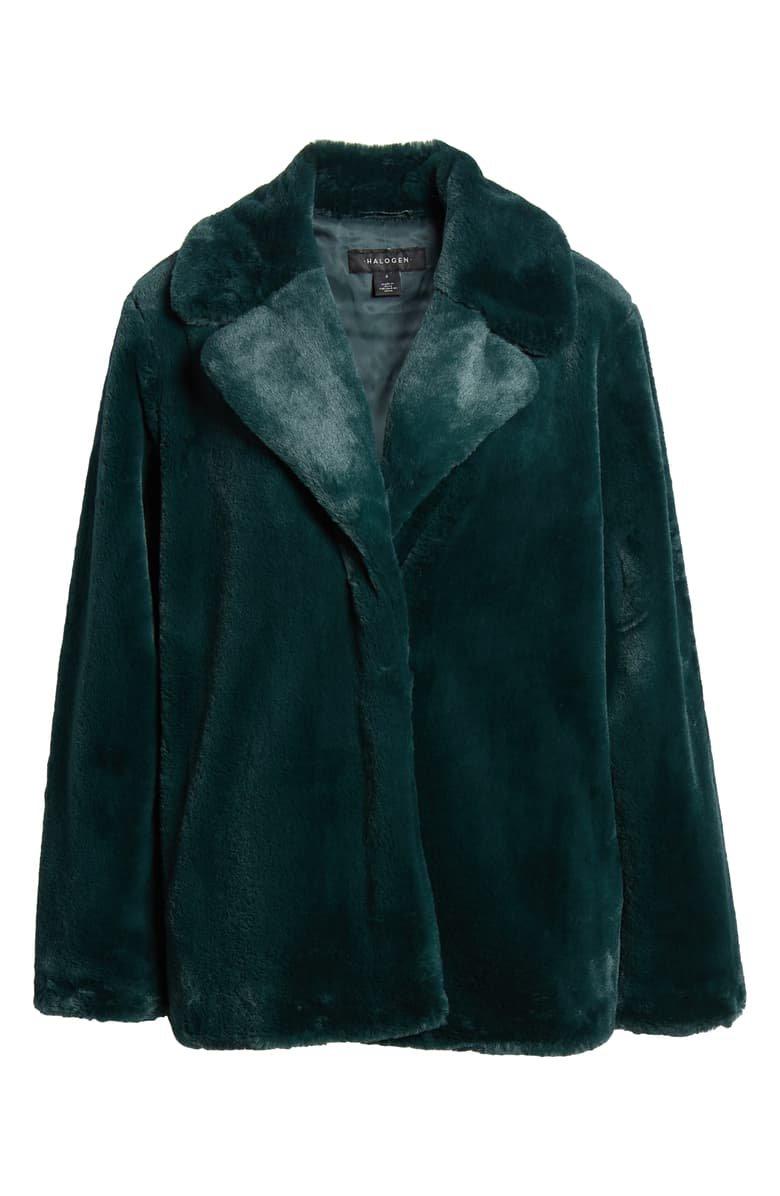 Halogen® Faux Fur Coat green