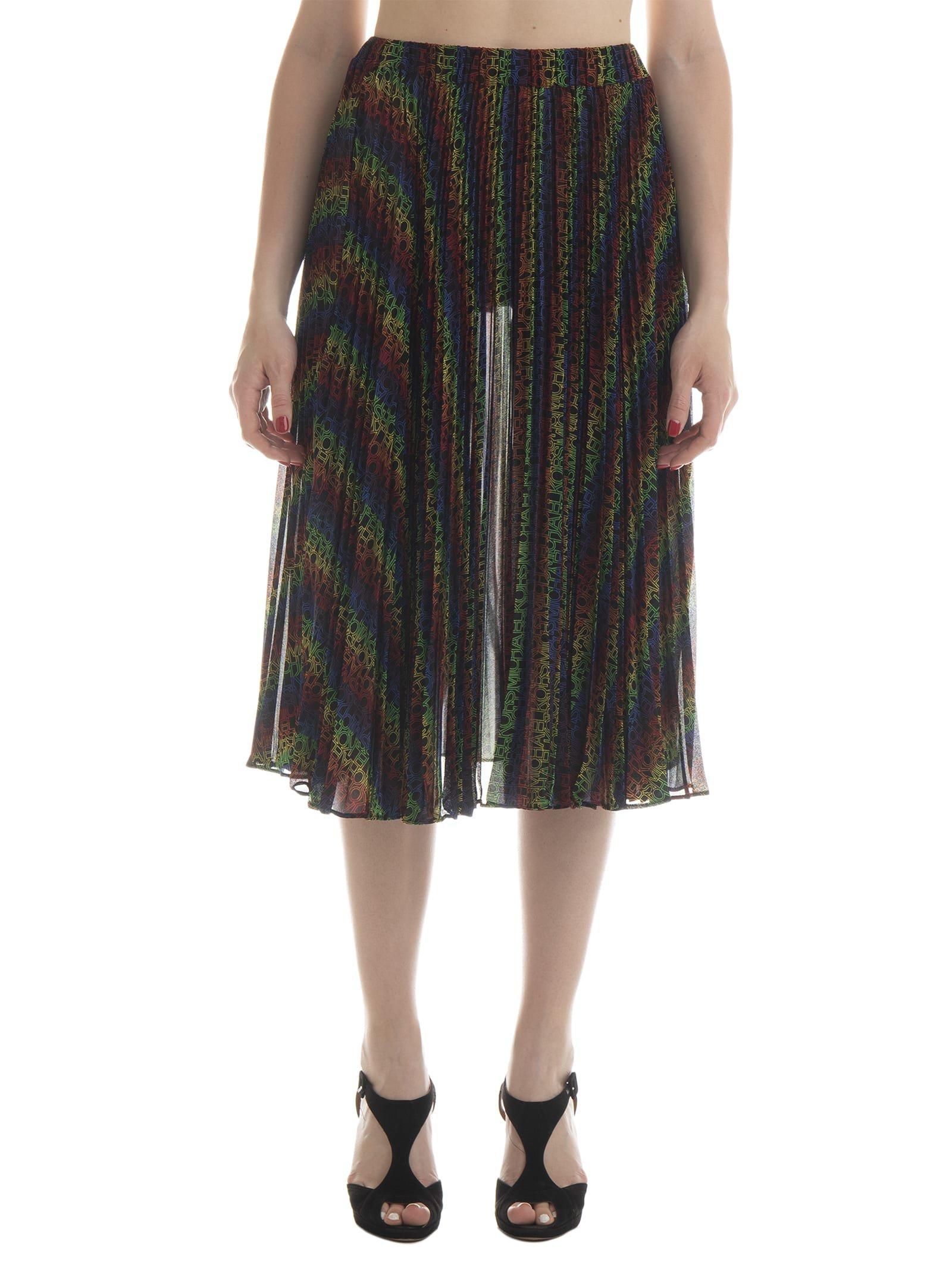 MICHAEL Michael Kors Multi Logo Pleat Skirt