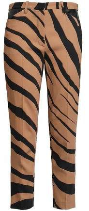 Cropped Zebra-print Crepe Slim-leg Pants