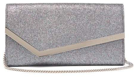 Emmie Glitter And Leather Clutch - Womens - Silver