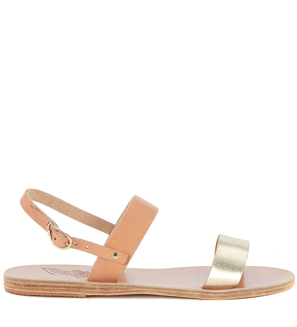 Ancient Greek Sandals Clio Natural And Gold Leather Sandal