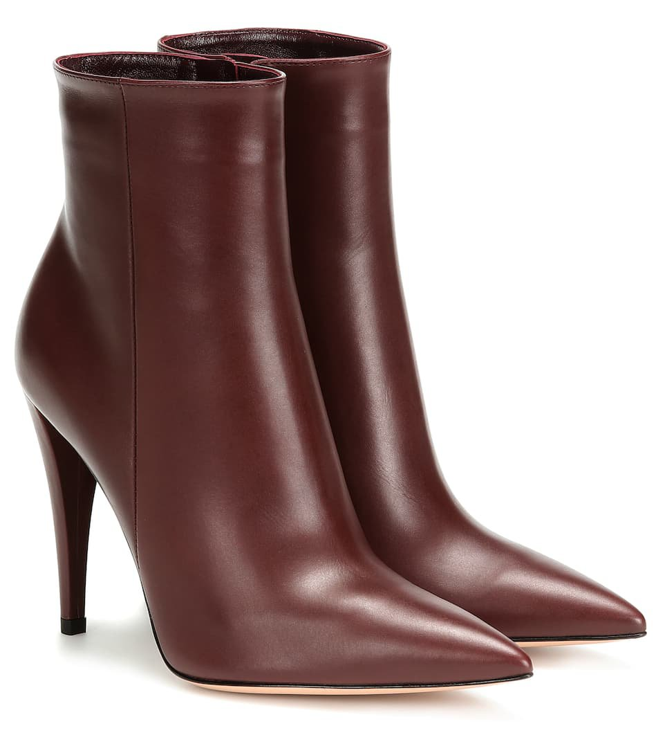 Scarlet Leather Ankle Boots | Gianvito Rossi - Mytheresa