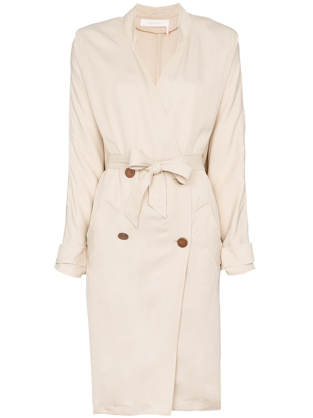 Neutral See By Chloé Collarless Double-Breasted Trench Coat   Farfetch.com