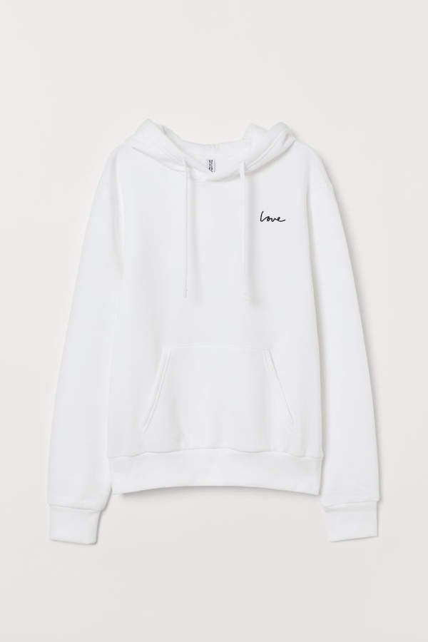 Hooded Sweatshirt with Motif - White