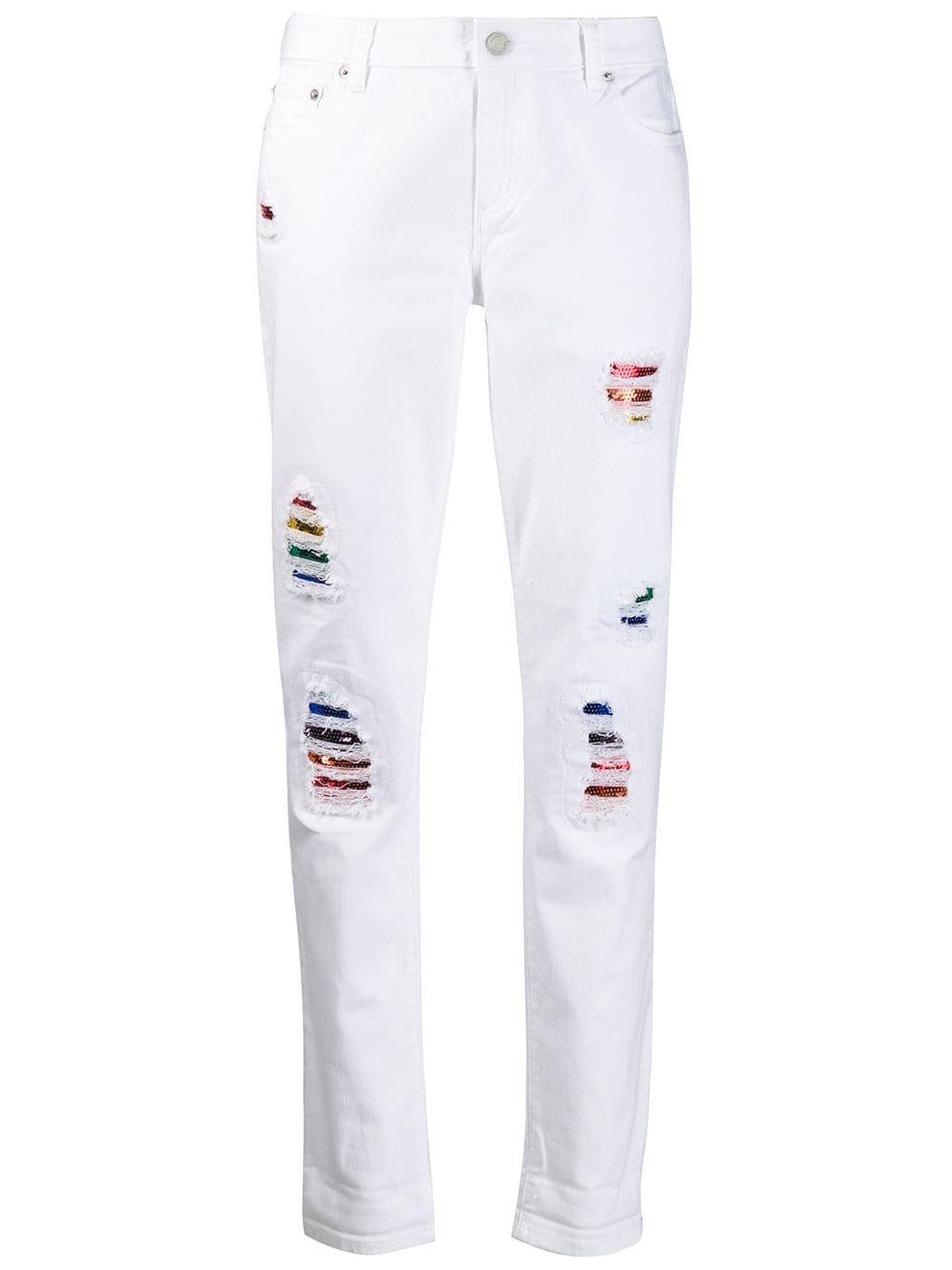 White Michael Michael Kors Rainbow Distressed Jeans | Farfetch.com