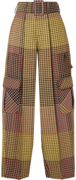 Belted Houndstooth Wool Wide-leg Pants - Yellow