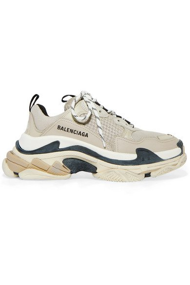 Balenciaga | Triple S logo-embroidered leather, nubuck and mesh sneakers | NET-A-PORTER.COM