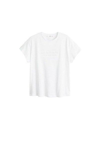 MANGO Embossed text t-shirt