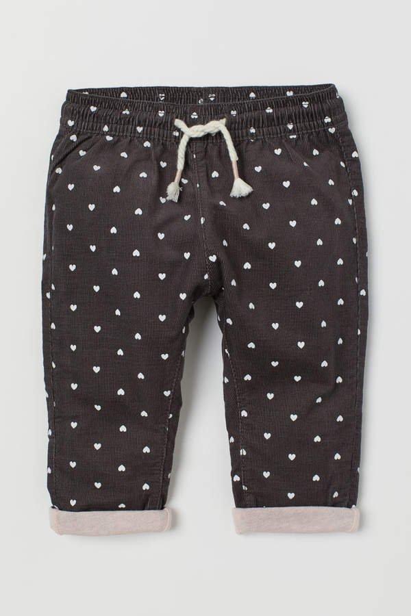 Lined Corduroy Pants - Gray