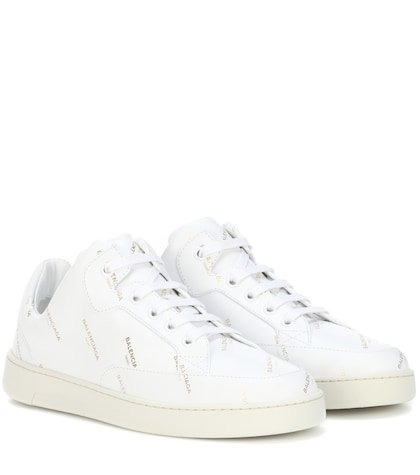 Base printed leather sneakers