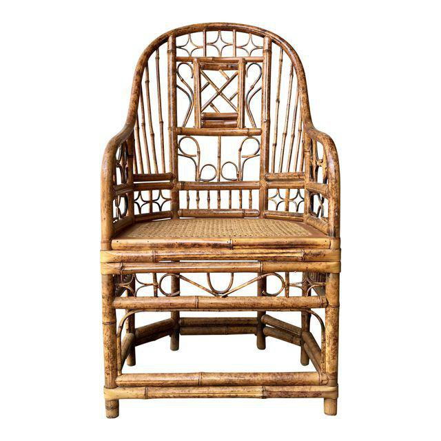 Vintage Brighton Pavilion Style High Back Chippendale Bamboo Chair | Chairish