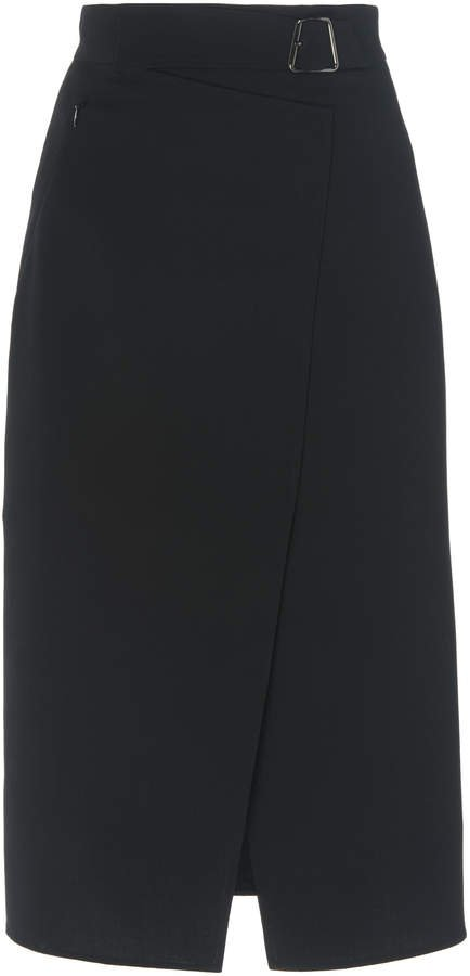 Akris Wrap-Effect Wool Pencil Skirt Size: 4
