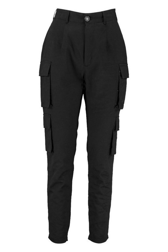 High Waist Skinny Cargo Pocket Pants | Boohoo