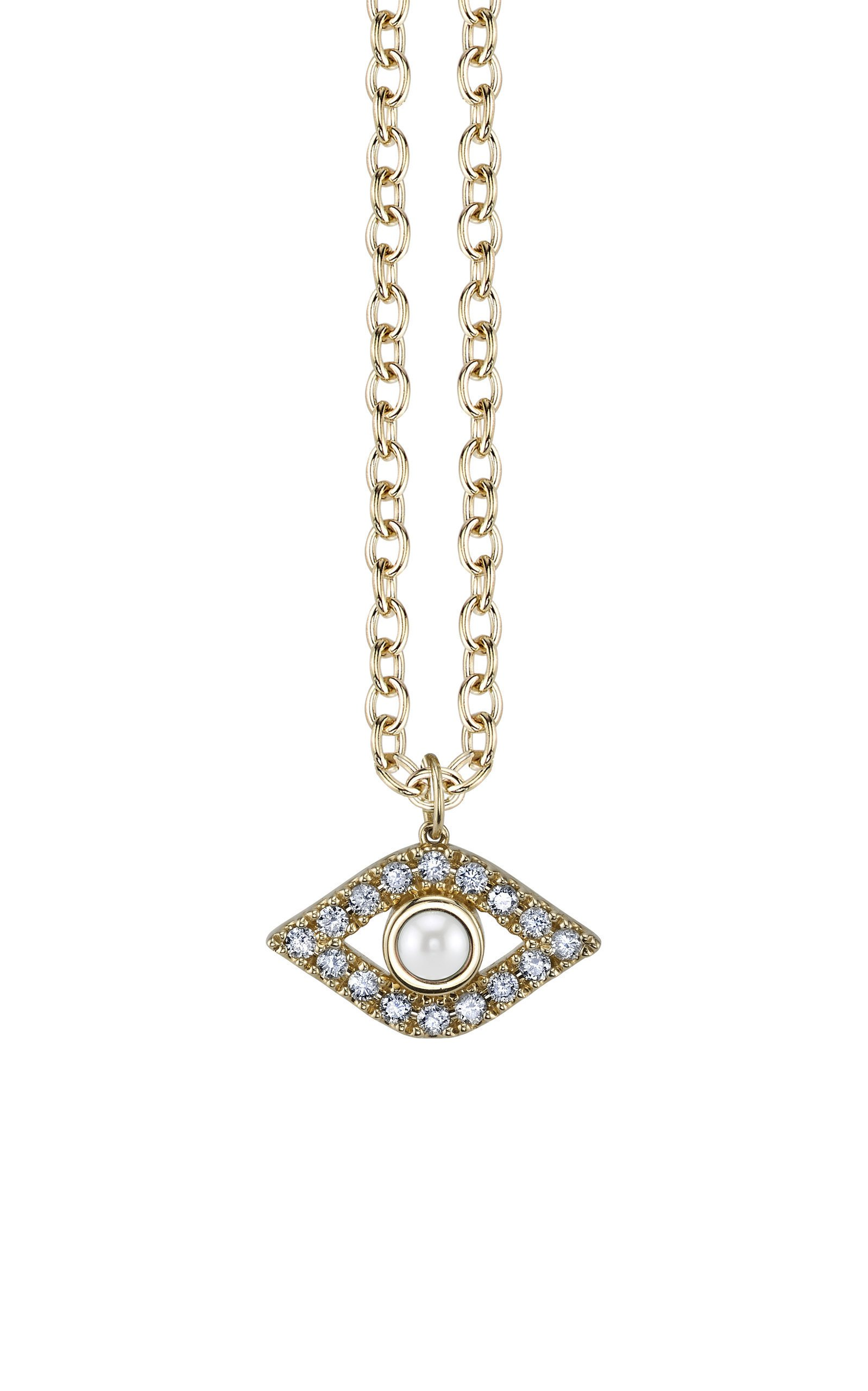 Sydney Evan Pearl And Diamond Evil Eye Necklace