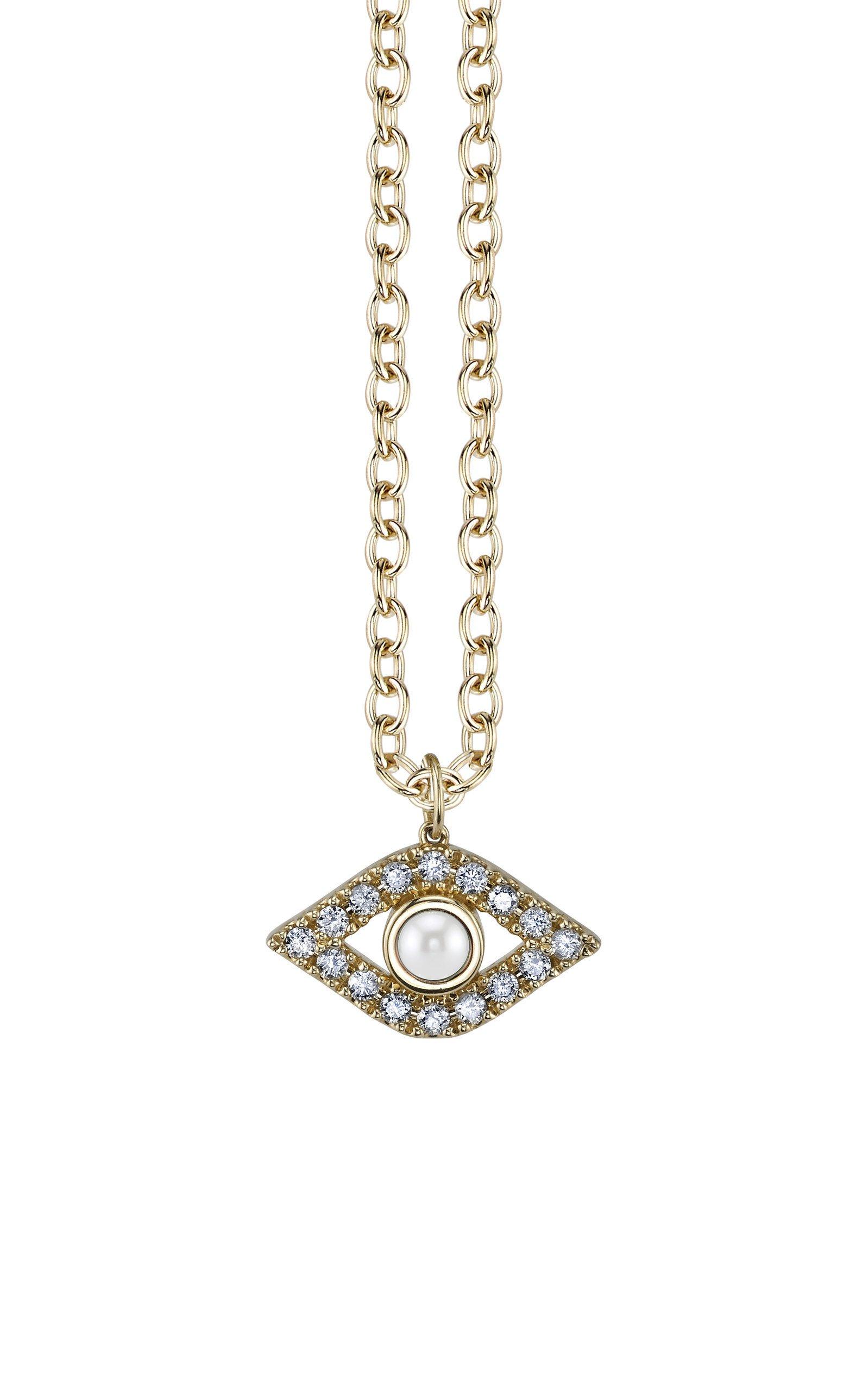 Sydney Evan Pearl And Diamond Evil Eye Necklace