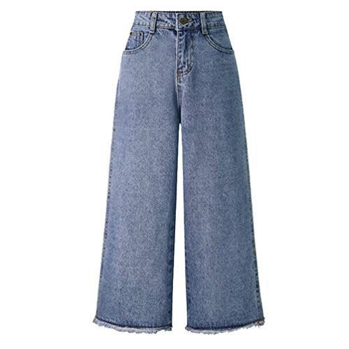 Anguang Ladies High Waist Stretch Denim Wide Leg Pants Jeans Frayed Hems Trousers with Pockets
