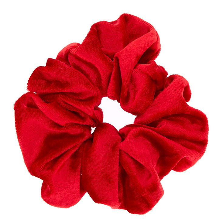 Large Velvet Hair Scrunchie - Red | Claire's US