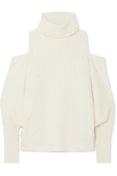 Antonio Berardi | Cold-shoulder ribbed wool and cashmere-blend turtleneck sweater | NET-A-PORTER.COM
