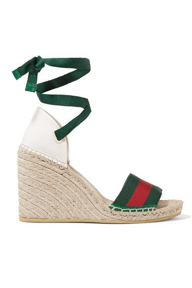 Gucci | Lilibeth striped grosgrain and canvas wedge espadrilles | NET-A-PORTER.COM