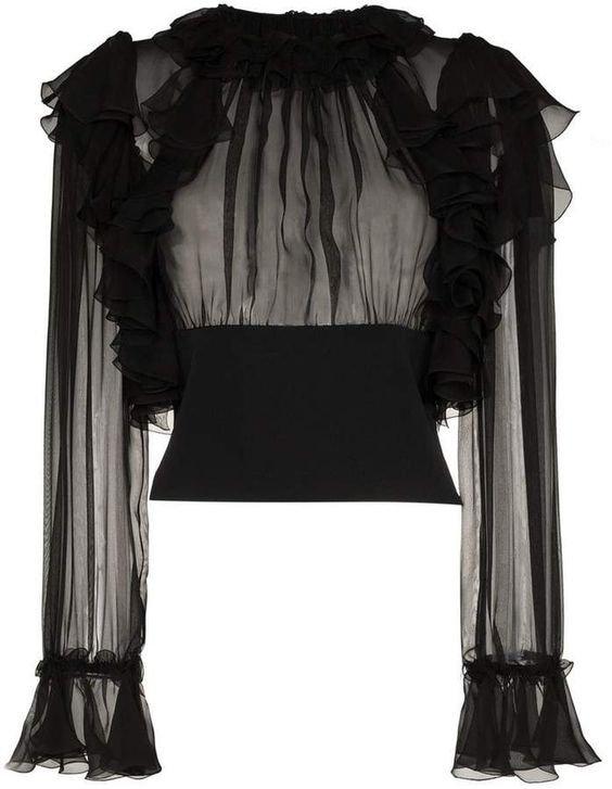 Dolce & Gabbana ruffle sleeve sheer silk blouse
