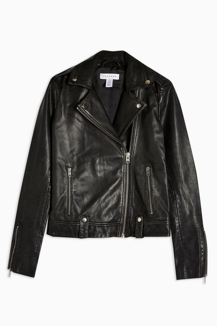 TALL Leather Biker Jacket Black | Topshop