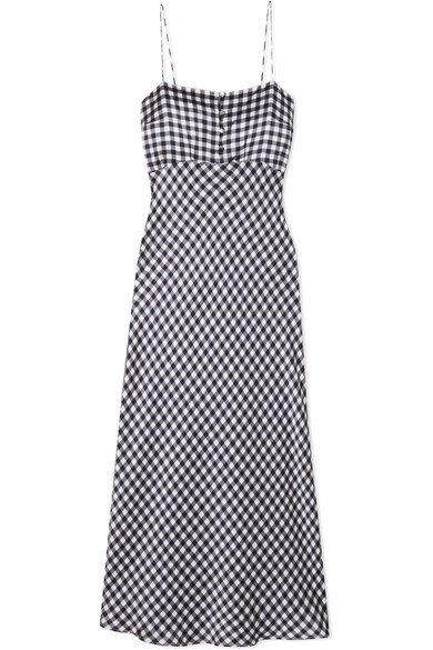 BERNADETTE | Florence gingham silk-satin midi dress | NET-A-PORTER.COM