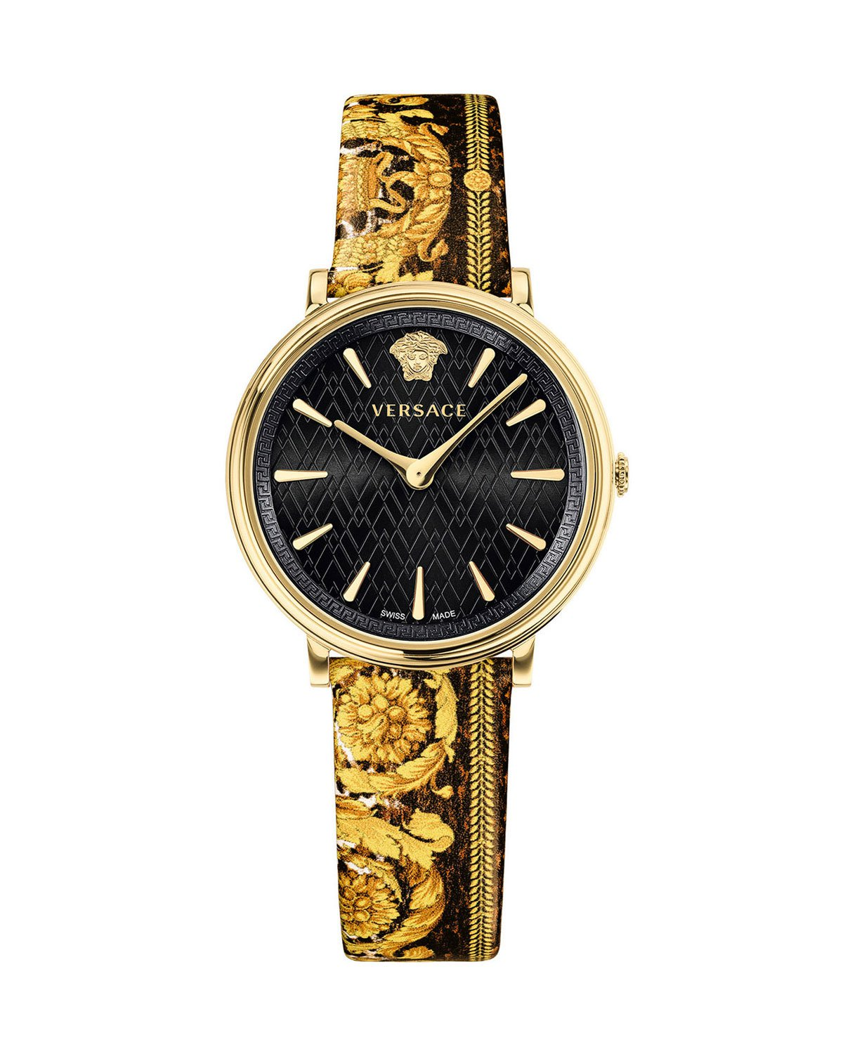 Versace 38mm V-Circle Tribute Leather Watch, Black/Gold | Neiman Marcus