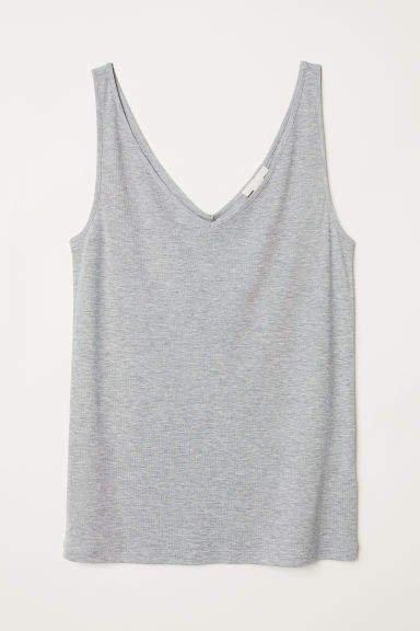 V-neck Lyocell Tank Top - Gray