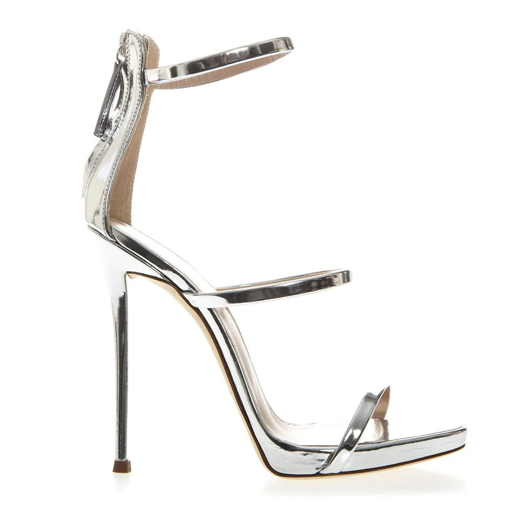 Giuseppe Zanotti Harmony Metallic Silver Leather Sandals