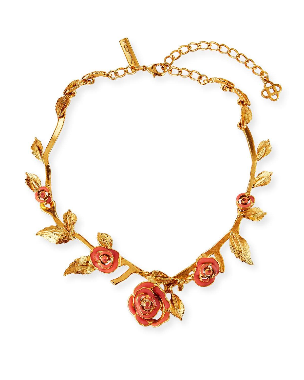 Oscar de la Renta Petite Matte Rose Necklace