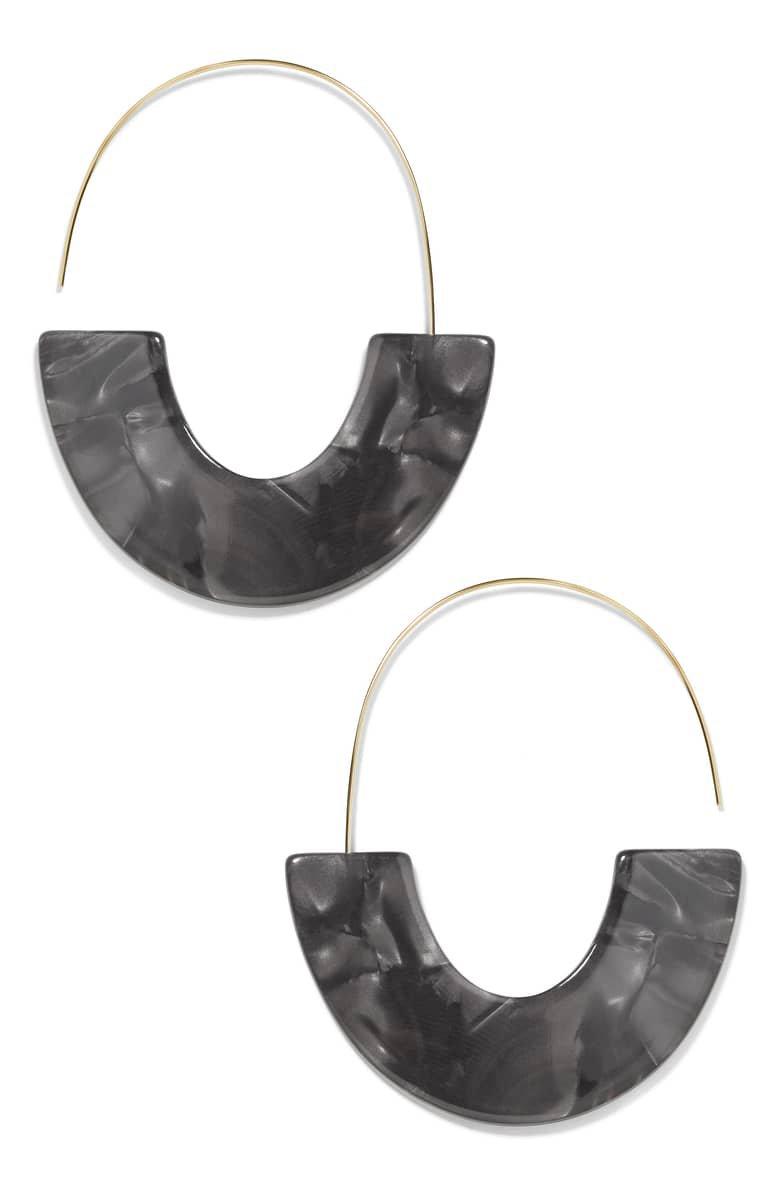 BaubleBar Faidra Thin Drop Acrylic Oval Hoop Earrings | Nordstrom