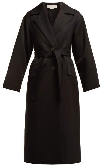 Single Breasted Wool Trench Coat - Womens - Black