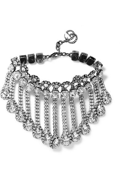 Gucci | Palladium-tone crystal necklace | NET-A-PORTER.COM