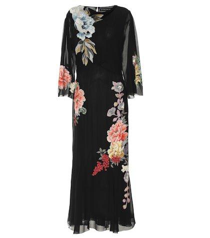 Embroidered silk maxi dress