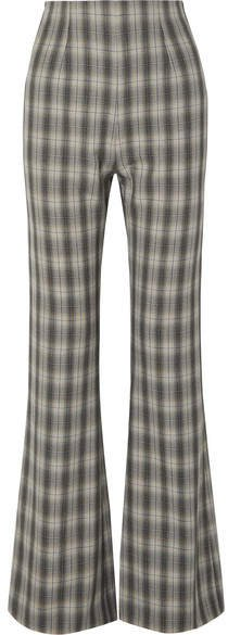 Clint Checked Crepe Flared Pants - Gray