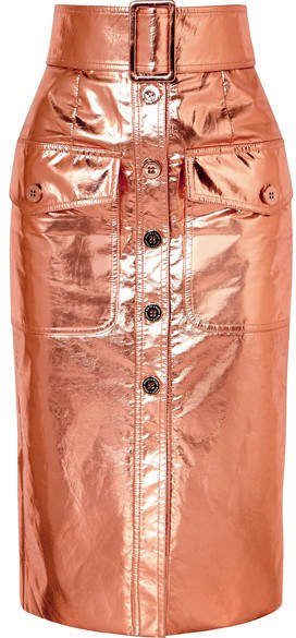 Ralph & Russo - Metallic Coated Silk-blend Midi Skirt - Pink
