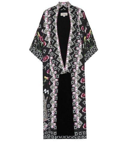 Flux printed satin kimono