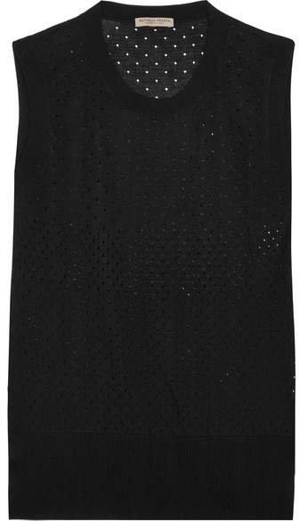 Perforated Silk Tank - Black