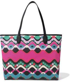 Leather-trimmed Printed Coated-canvas Tote