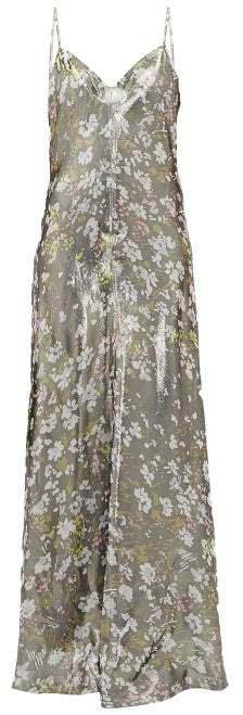 Metallic Floral Print Slip Dress - Womens - Silver