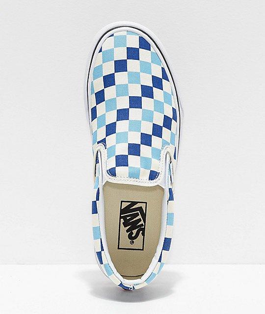 Vans Slip-On Blue, Topaz & White Checkered Canvas Skate Shoes   Zumiez