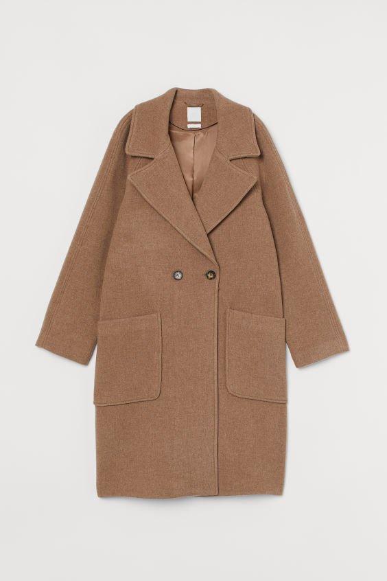 Wool-blend Coat - Dark beige melange - Ladies   H&M US