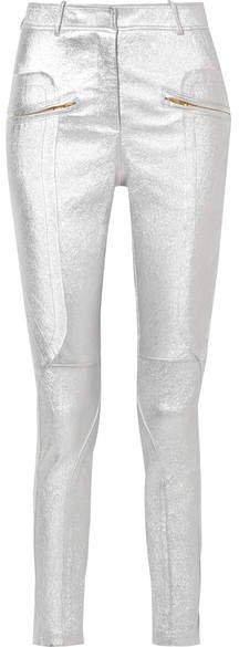 Sies Marjan - Brin Metallic Textured-leather Skinny Pants - Silver