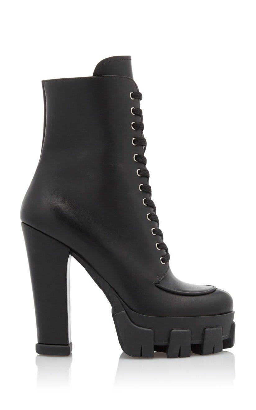 Lace-up Leather Platform Boots by Prada   Moda Operandi