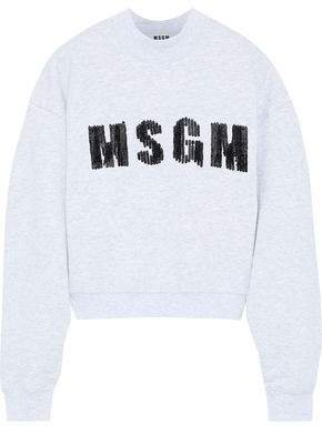 Sequin-embellished French Cotton-blend Terry Sweatshirt