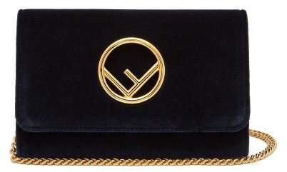 Kan I Logo Velvet Cross Body Bag - Womens - Navy