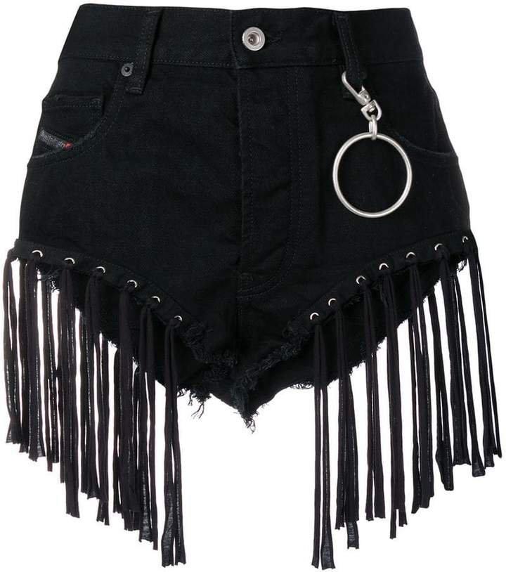 fringed shorts in denim