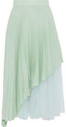 Layered Pleated Tulle And Washed-silk Midi Skirt